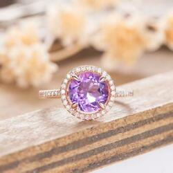 2.10ct Round Cut Amethyst And Diamond Womanand039 Engagement Ring 14k Rose Gold Plated