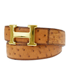 Auth Hermes Constance Reversible H Buckle Belt Ostrich Leather 100 Bn 16mg225