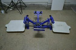 Used Diy4 Color 2 Station Screen Printing Press Rotary Printer With Fixed Board