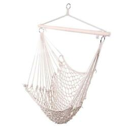 Cotton Rope Hammock Hanging Chair Porch Swing Seat Patio Yard Camping Beige