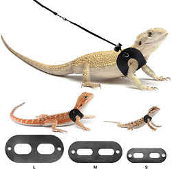 Bearded Dragon Harness and Leash Adjustable Leather Lizard Reptiles BWOGUE
