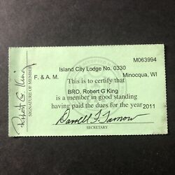 Grand Lodge Free And Accepted Masons Wisconsin Member Card 2011 Island City No0330