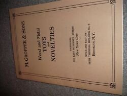 Antique Toy Manufacture Catalog 1910 M. Gropper And Sons Cast Iron And Tin Toys