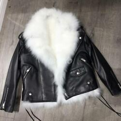 Womens 100 Real Fox Fur Lapel Collar Lined Leather Coat Jacket Short Motorcycle