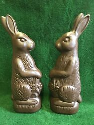 """Blow Mold Easter Decoration Chocolate Rabbit Huge 31"""" Inches Union Products Pair"""
