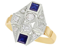 Vintage 0.30ct Diamond And 0.42ct Sapphire, 15k Yellow Gold Dress Ring, Size 8.625