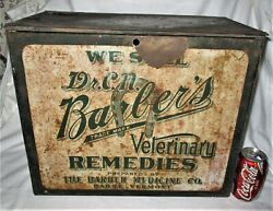 Antique Primitive Country Dr. C.n. Barbers Veterinary Medicine Advertising Box