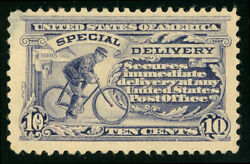 US Scott #E11 Bike Messenger 10¢ 1917 Special Delivery Perf 11 MH *FREE SHIP* $14.99