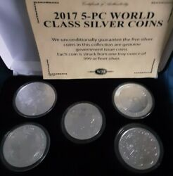 2017 Five Piece Silver Bullion Coins Of The World Set With Case And Coa