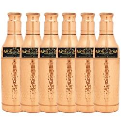 A+ Pure Copper Bottle Hammered Finish Champagne Design Joint-less 800ml Set Of6