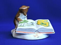 Vintage Porcelain Figurine Bear With Book Ofz Soviet Russia Ussr Very Rare