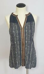 Lucky Brand Embroidered Peasant Tank Top Blue White Size Small Women#x27;s Boho $15.99