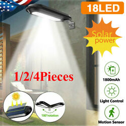 1-4pcs Commercial 18 Led Solar Street Light Ip55 Waterproof Dusk To Dawn Lamps