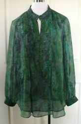 Coldwater Creek Green Floral Chiffon Lined Blouse 1x Bust46