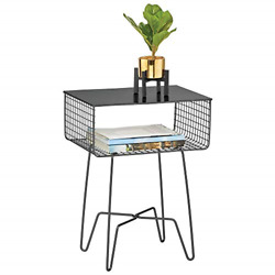 Mdesign Modern Farmhouse Side/end Table - Solid Metal Design - Open Storage Legs