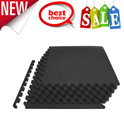 Rubber Puzzle Mat Gym Fitness Floor Exercise Interlocking Rug Tiles 3/4 Thick 24