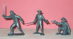 3 Marx 1950's 60mm 7th Cavalry Soldiers To Rin Tin Tin Fort Apache Playset Etc
