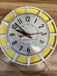 Vintage Colorful Yellow/white General Electric Wall Clock. Works
