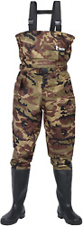 Ouzong Bootfoot Chest Waderscleated 2-ply Nylon/pvc Fishing And 9 Camo