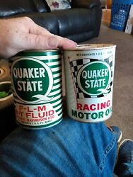 Vintage Quaker State Racing Motor Oil Can And Transmission 1 Quart Lot Of 2