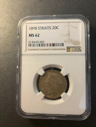 Straits Settlements Qv Silver 20 Cents 1898 Rare Toned Uncirculated Ngc Ms62