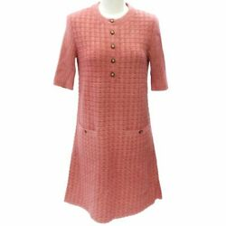 Lame Knit Dress Short Sleeve Lion Button Pink Brown Gold Bc236 No.5996