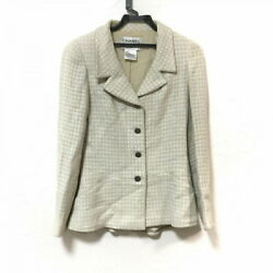 Previously Owned Jacket Long Sleeves Tweed Plaid Spring Autumn No.6384