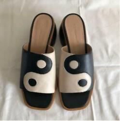 Palomawool Sandals 37 Leather Black And White Yin Yang Sold Out Item Rare318/kn