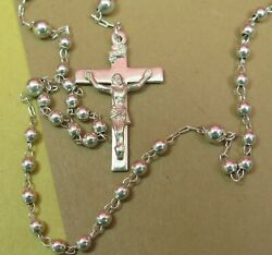 Vintage Rosary Beads Sterling Silver Cross Beads And Center M De Jean 16 14.1g