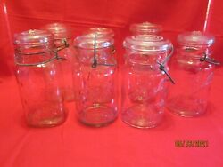 Lot Of 7 Vtg Ball Ideal And Atlas Canning Jars Quart Wire Bail W/lid, Clear Glass