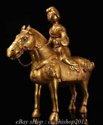 15old Tang Dynasty Bronze Gold Gilt Beauty Belle Maid Ride Tang Hose Statue