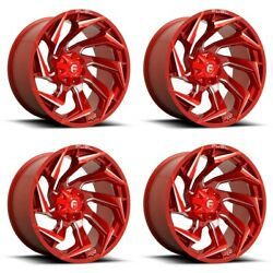 Set 4 20 Fuel D754 Reaction 20x10 Candy Red Milled 5x4.5 5x5 Truck Wheels -18mm