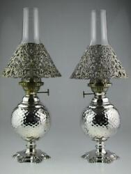 Large American 19th Century Sterling Silver Oil Lamps By Gorham Co Circa 1893