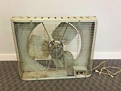 Vintage Window Fan 2 Speed Exhaust In Out Thermostat Metal Mid Century Green Box