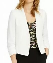 Bar Iii Womens Jacket Porcelain White Size Xl Open Front Ruched Sleeve 99- 092