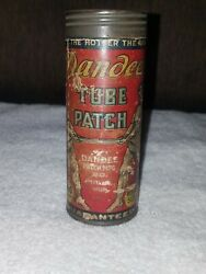 Very Rare Vintage Dandee Cardboard Tube Patch Tire Repair Kit Can 5.25 Inches