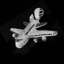 2 Ct Round Vvs1/d Diamond Airplane Shaped Hip Hop Pendant In 14k White Gold Over
