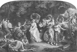 Naked Nude Women Girls Nymphs Fairy Queen Una 1860 Art Print Engraving Rare