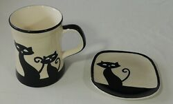Huesnbrews Hues And Brews Black Siamese Cat Cream Cup And Saucer New