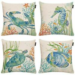 Set of 4 Ocean Beach Outdoor Throw Pillow Covers Assorted Colors Sizes