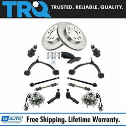 Trq 15pc Kit Brake Pads And Rotors Tie Rods Control Arms For Silverado Sierra 1500