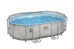 Coleman Power Steel Frame 16' X 10' X 48 Oval Pool Set W/ Filter Pump And Ladder