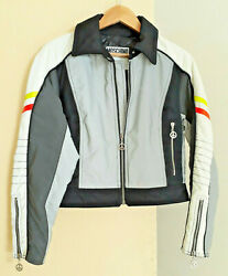 Moschino jeans Luxury Motorcycle women jacket peace and love sz 42 made in Italy $182.00