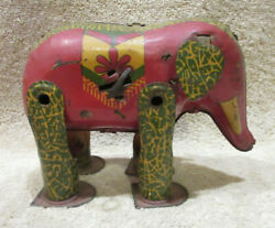 Lindstrom Tin Litho Circus Elephant Toy Vintage Antique Wind Up Non-working Rare