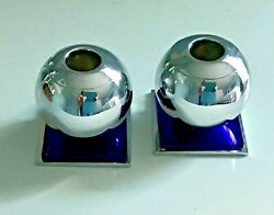 Pair Vintage Art Deco Chase Chrome And Cobalt Blue Glass Globe Candle Holders