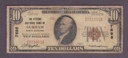 10 1929 Rare The Citizens Nb Durham Nc - Charter 7698 Only 10 Known