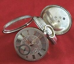Antique Silver Pocket Watch Fusee Fully Serviced, Solid Gold Numbers On The Dial