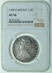 1708 Halfcrown Septimo Slabbed Ngc Au58 British Silver Coin From Anne
