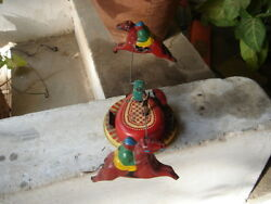 India - Rare Old Vintage Wind Up - Tin Toy - Racing Horses