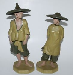 Vintage Fred Press Mid Century Sculptures Figures Of Chinese Man And Woman.